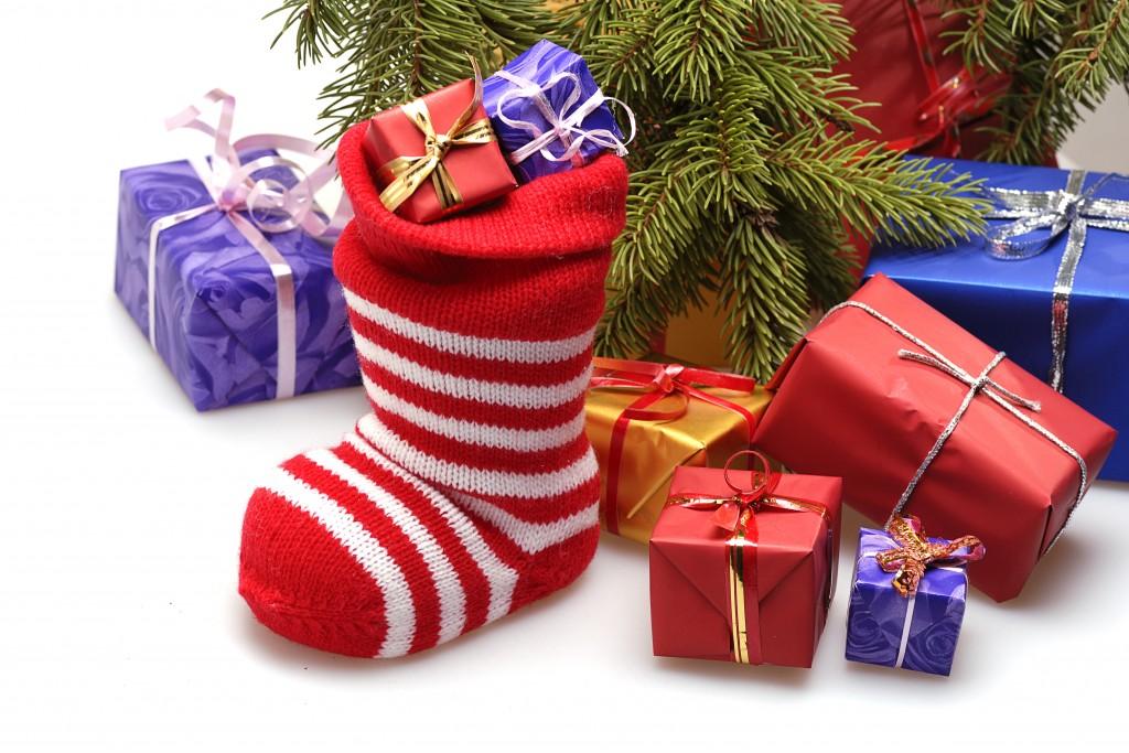 christmas stocking and presents