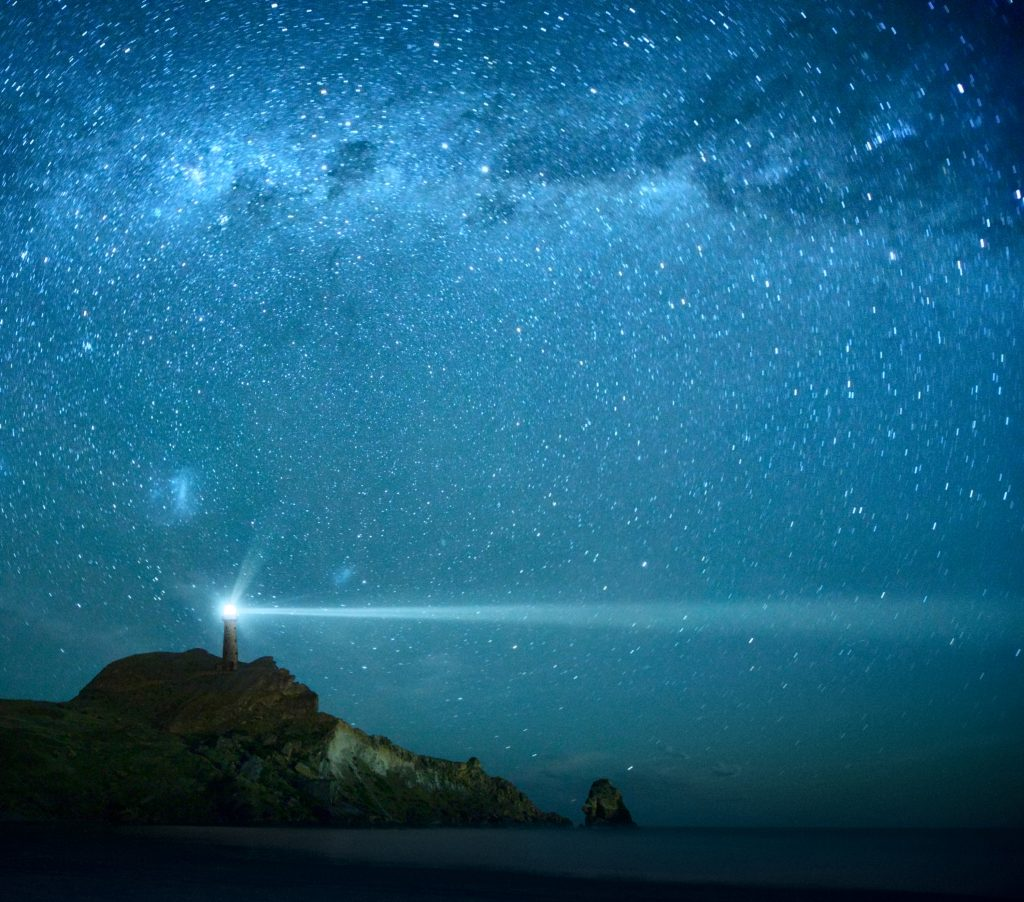 Lighthouse Under Milky Way stars